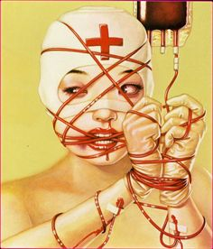 Made by: Trevor Brown - (Red Cross, bound with a blood transfusion)