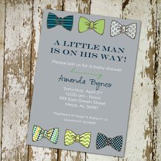 baby boy shower invitation with bow ties, little gentleman theme, digital, printable file (item 1246b) on Etsy, $13.00