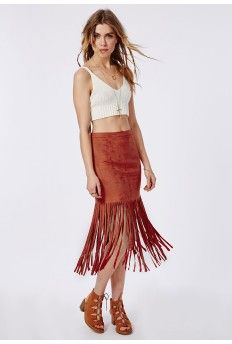 Fringed Suede Midi Skirt Burnt Orange