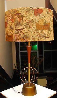 VINTAGE MID CENTURY MODERN EAMES ATOMIC PLANET LAMP TEAK WOOD BRASS WITH SHADE