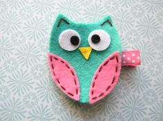 Turquoise and Hot Pink owl Felt Clip by BubbleBabys on Etsy, $3.50
