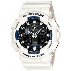 Японские мужские спортивные часы белого цвета Casio G-Shock GA-100B-7A. Общие характеристики: Тип: кварцевые, унисекс. Способ отображения времени: аналоговый + цифровой, формат 12/24 часа, секундная стрелка отсутствует. Цифры: отсутствуют. Источник энергии: от батарейки. Конструкция: Противоударные: есть. Водонепроницаемые: есть, WR200 (20 атм).