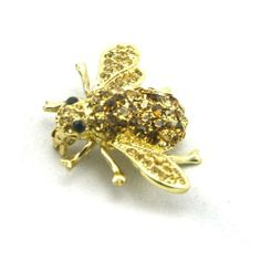 Yellow Topaz Austrian Crystal Rhinestone Bumble Bee Brooch Pin with Gold Plated Bee Brooch, Brooch Pin, Bumble Bee Jewelry, Women's Brooches, Topaz Jewelry, Austrian Crystal, Crystal Rhinestone, 18k Gold, Fashion Jewelry