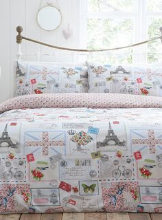 bhs bedding vintage maison bright bedroom bird on a bike bedding
