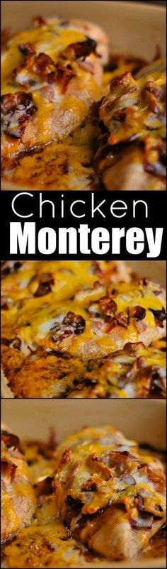 Chicken Monterey is chicken cooked with bbq sauce, bacon and gobs of melted cheese! A restaurant copycat that everyone loves!