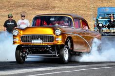 1955 Chevy Highboy Gasser melting the back tires.