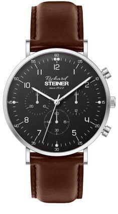 Richard Steiner Generation One Watch Brands, Omega Watch, Gentleman, Leather, Accessories, Designer Clocks, Leather Cord, Branding, Gentleman Style