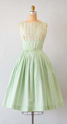 vintage 1950s mint green organza grid pleat dress
