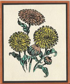 Flower of the Month-October's Colendula by inkieannie on Etsy