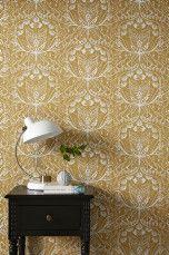 Wallpaper by ellos Tapet Anna-Lisa Mellangrå, Gul, Mörkblå - Mönstrade tapeter | Ellos Mobile