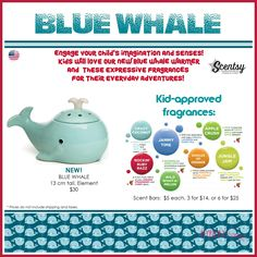 Blue whale Scentsy warmer and kids collection scents.