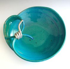 Turquoise Modern Hostess Bowl handmade ceramic dish by ocpottery, $35.00