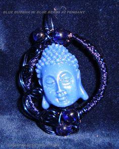 Blue Buddha w/ blue beads--Open Communications--$15.00 + S&H