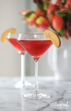Peach Cosmopolitan recipe inspired by Carnival's Alchemy Bar.