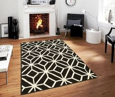 Contemporary Rugs For Living Room Modern Rugs Black and White Moroccan Trellis Area Rug Carpet