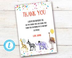 Editable Party Animals Thank You Card, Party Animals instant download invitation,You print birthday invitation, Party Animals DIY party Party Animals, Animal Party, Card Party, Diy Party, Party Printables, Birthday Celebration, Birthday Invitations, Save Yourself, Thank You Cards