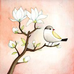 Bird illustration print Magnolia branch by joojoo on Etsy