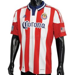 New-Adidas-Authentic-Chivas-USA-Mens-MLS-Soccer-Jersey-XL-Red-White-Stripes