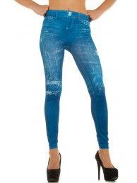 Fashion siniset farkkukuvioidut strassikivileggingsit