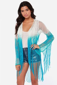 Maybe another idea for Modern Elsa??   Raviya Take a Dip Cream and Aqua Blue Fringe Top at LuLus.com!