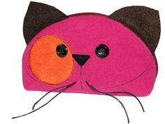 Zipper PURRRRRRse Happy Cat Face Handmade Cosmetic Pouche by ifONA