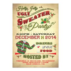 Charming Old Fashioned Holly Jolly Ugly Sweater Holiday Party Invitation. Features fancy typography and fun graphics on a grungy, antique background. Great for your Christmas party. Easy to edit. Hand drawn illustration by McBooboo.