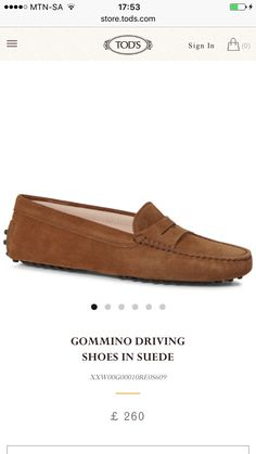 Brown suede gommino driving shoes. TOD'S