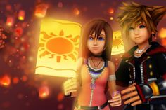 """kh13: """" A stunning pic of Sora and Kairi from user Little-Styler! """""""