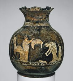 The garments of the two women are especially rich in detail. The woman at right wears a pleated chiton and a himation with a decorative hem. Her companion also wears a chiton, as well as a tunic that resembles the astrochiton often worn by the goddess Artemis. [..] Both women wear their hair tied up with scarves, which are also decorated with meanders.