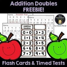 Addition Doubles Flash Cards & Timed Tests Freebie- great for Kindergarten, First Grade, Second Grade Doubles Addition, Addition Facts, Math Addition, Math Classroom, Maths, Math Vocabulary, Classroom Resources, Addition Flashcards, Math Flash Cards