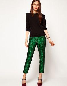 Pantone's color of 2013 is emerald! Spot jacquard trousers, $79.16, asos.com
