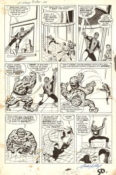 A page from FANTASTIC FOUR ANNUAL #1 by Jack Kirby and Steve Ditko. This story was an expanded retelling of an encounter that was first published in AMAZING SPIDER-MAN #1, so some of these panel compositions have Kirby mimicking Ditkos layouts.