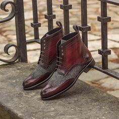A beautiful mix of Oxblood Hand Painted Patina and a grey wool herringbone on this pair of Military Brogue Boots. Pinterest Board, Custom Design Shoes, Oxblood, Luxury Shoes, Brogues, Travel Style, Calf Leather, Lady, Designer Shoes