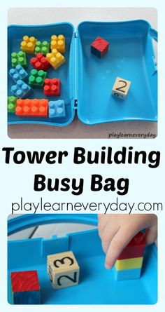 A simple busy bag to keep kids entertained using Lego bricks and dice to build towers.