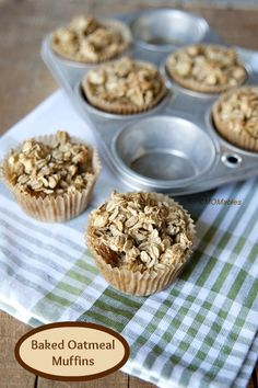 Baked Oatmeal Muffin cups old-fashioned rolled oats 1 teaspoon baking powder ½ teaspoon kosher salt 1 teaspoon cinnamon 2 tablespoons butter, melted and cooled 2 cups milk 1 egg ¼ cup maple syrup ¼ cup dried fruit or nuts (optional) 2 cups fruit, fresh Muffin Recipes, Breakfast Recipes, Breakfast Muffins, Cupcake Recipes, Baked Oatmeal Muffins, Baked Oats, Healthy Muffins, Oatmeal Cupcakes, Healthy Snacks
