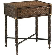 Henry Link Trading Co. Martinique One-Drawer End Table with Solid Mahogany Legs & a Herringbone Pattern of Woven Split Rattan by Henry Link Trading Co. at Baer's Furniture