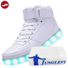 JUNGLEST [Present:Kleines Handtuch] Weiß EU 40, Sport Weise LED Leuchtend Velcro Sneakers Schuhe 7 Rollbrett Aufladen Glow mit High-Top USB Damen Party Farbe Turn