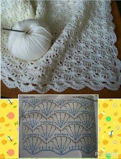 Ideas crochet blanket pattern diagram ganchillo for 2019 Crochet Baby Shawl, Crochet Blanket Edging, Crochet Motif, Diy Crochet, Blanket Stitch, Crochet Ideas, Blanket Yarn, Freeform Crochet, Crochet Afghans