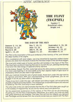 Zodiac Unlimited Aztec astrology postcard: The Flint