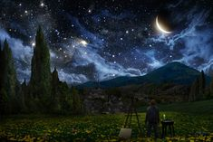 """Starry Night"" by Alex Ruiz.  Ruiz depicts Van Gogh as he prepares to create his famous masterpiece--which happens to be another of my favorite paintings."