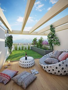 Terraza ático con pasto sintético