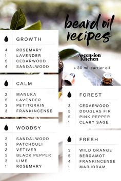 Homemade Beard Oil Blends - use jojoba and argan oil as base Homemade Beard Oil, Diy Beard Oil, Homemade Body Spray, Homemade Body Butter, Homemade Deodorant, Essential Oil Blends, Essential Oils, Frankincense Essential Oil, Beard Growth Tips