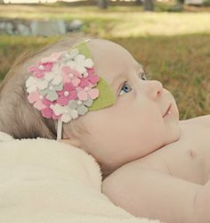 Baby Headband or Hair Clip Pink and Gray Hydrangea in Wool Felt Infant Toddler