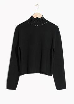 & Other Stories image 1 of Studded Turtleneck Sweater in Black