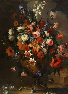 STILL LIFE WITH FLOWERS IN A VASE - Flowers Paintings by Kunsthaus Lempertz