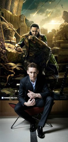 Tom and his alter ego, Loki... Too much awesomeness in one photo!