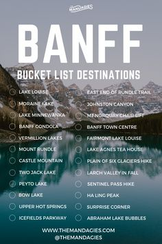 20 Adventurous Things To Do In Banff, Canada Banff National Park Destination Bucket List. Save this pin for Canadian Rockies inspiration later, and click the link for more outdoor adventure ideas! Europe Destinations, Bucket List Destinations, Banff Canada, Canada Canada, Canada Trip, Cool Places To Visit, Places To Travel, Camping Places, Parc National De Banff