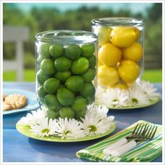 Ideas for creative centerpieces using items you have in your house.
