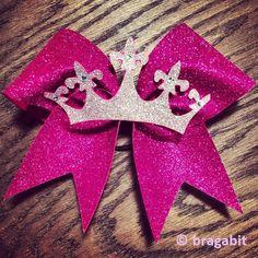Pink glitter cheer bow with silver glitter crown and rhinestones. – BRAGABIT