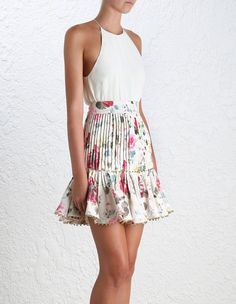 Mischief Tuck Skirt, from our Spring 16 collection, in Floral printed linen. Tucked detail and frilled panel, gold ball trim. Cotton lined. Catwalk Fashion, Look Fashion, Fashion Outfits, Cute Dresses, Casual Dresses, Short Dresses, Girly Outfits, Summer Outfits, Summer Dresses